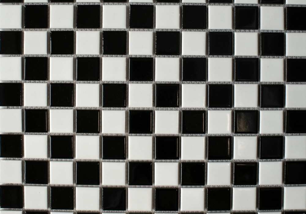 black white gloss small chequer flat
