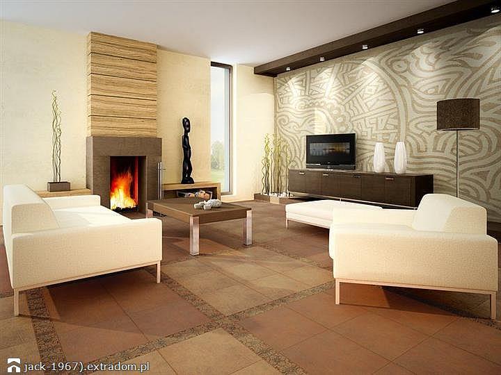 Płytki cementowe w salonie