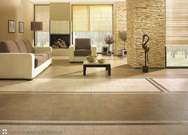 aranżacja salonu - płytki cementowe